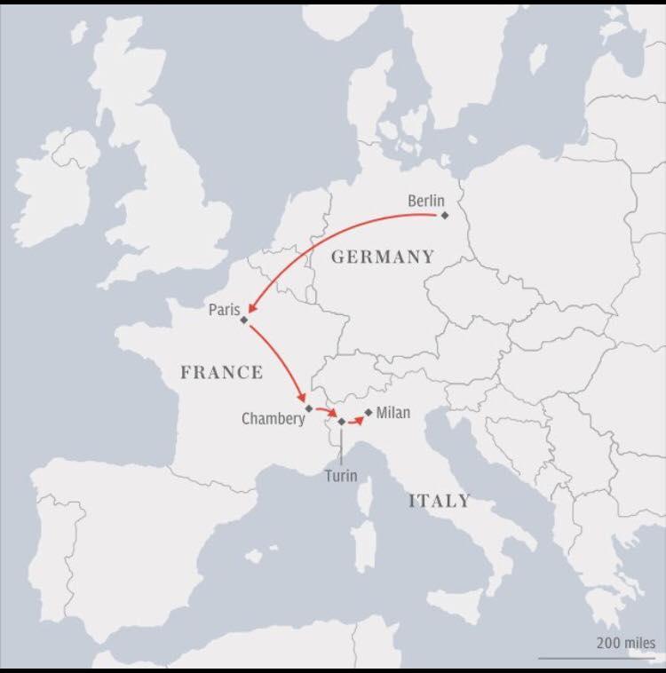 Trasa, kterou berlínský atentátník Anis Amri urazil po Evropě