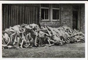 hromada mrtvých těl obětí Německého teroru koncentrační tábor Dachau